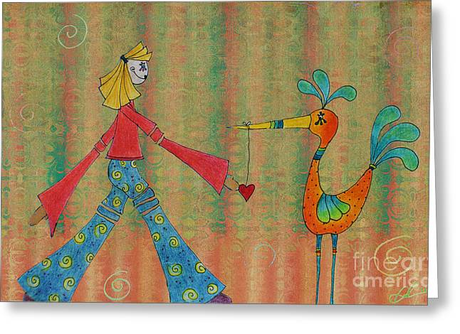 Naive Art Greeting Cards - Eglantine - Love Sharing Greeting Card by Aimelle