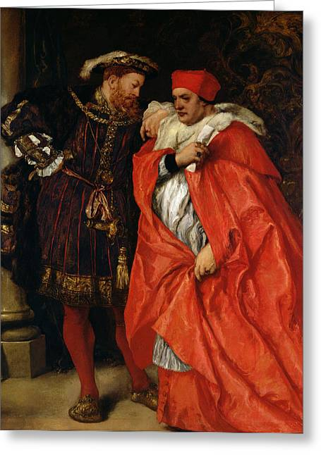 Viii Greeting Cards - Ego Et Rex Meus, Henry Viii 1491-1547 And Cardinal Wolsey C.1475-1530 Oil On Canvas Greeting Card by Sir John Gilbert