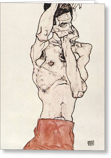 Basquiat Drawings Greeting Cards - Egon Schiele      Greeting Card by Egon Schiele