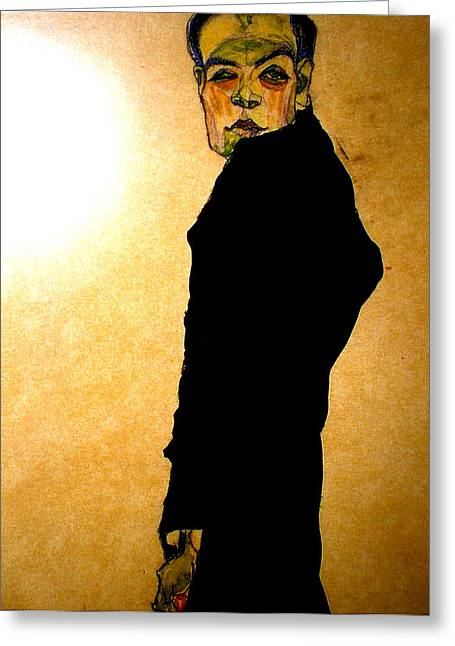 Neo Expressionist Greeting Cards - Egon Schiele drawing Greeting Card by Celestial Images