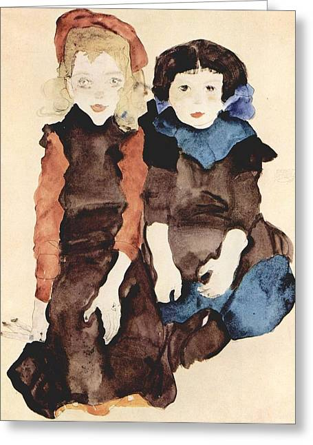Distortion Paintings Greeting Cards - Egon Schiele Painting Greeting Card by Celestial Images