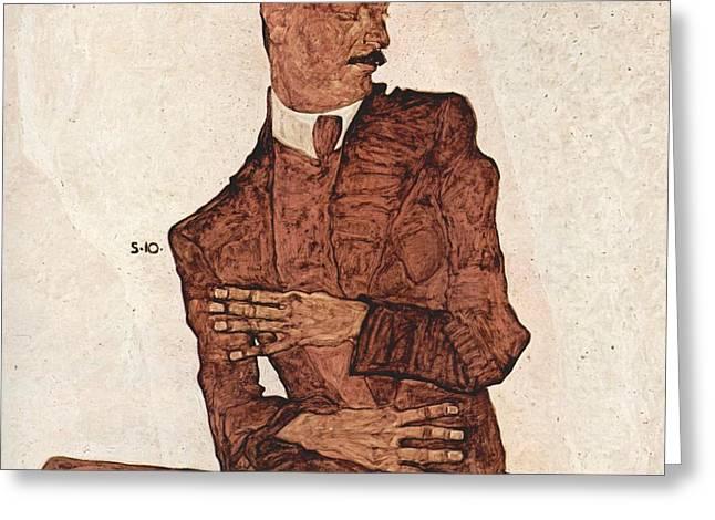 Portrait Of A Man Greeting Card by Egon Schiele