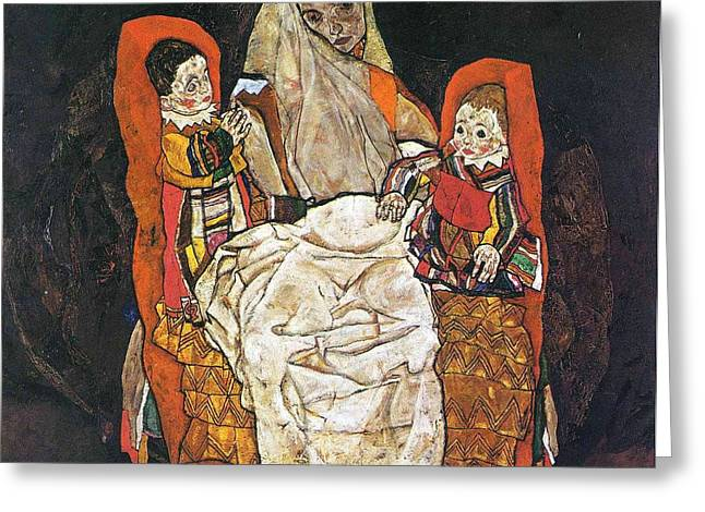 Egon Schiele Paintings Greeting Card by Celestial Images