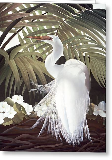 Snowy Egret Greeting Cards - Egret and Palms Greeting Card by Laura Regan