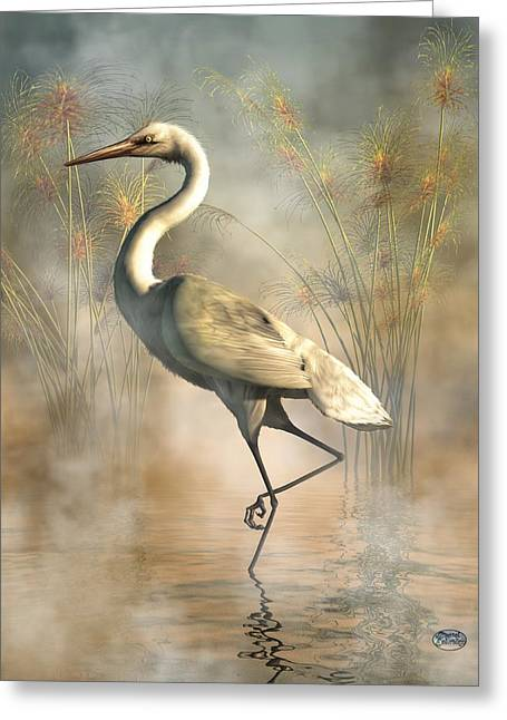 White Digital Greeting Cards - Egret Greeting Card by Daniel Eskridge