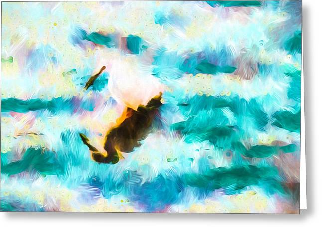 Wade Mixed Media Greeting Cards - Egret Fishing For Dinner Abstract Art Greeting Card by Priya Ghose