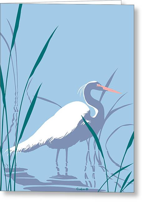Marsh Scene Greeting Cards - abstract Egret graphic pop art nouveau 1980s stylized retro tropical florida bird print blue gray  Greeting Card by Walt Curlee
