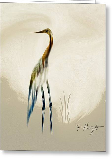 Frank Ocean Art Greeting Cards - Egret In Autumn Abstract Greeting Card by Frank Bright