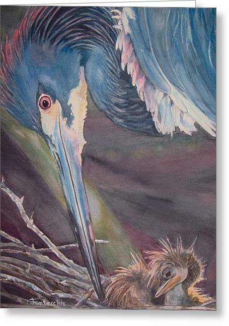 Best Sellers -  - Water Fowl Greeting Cards - Egret Love Greeting Card by Jan Fontecchio