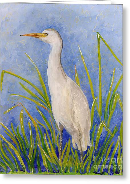 Fauna Glass Art Greeting Cards - Egret Morning Greeting Card by Anna Skaradzinska