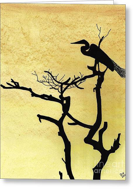 Bird On Tree Drawings Greeting Cards - Egret - Sunset Greeting Card by D Hackett