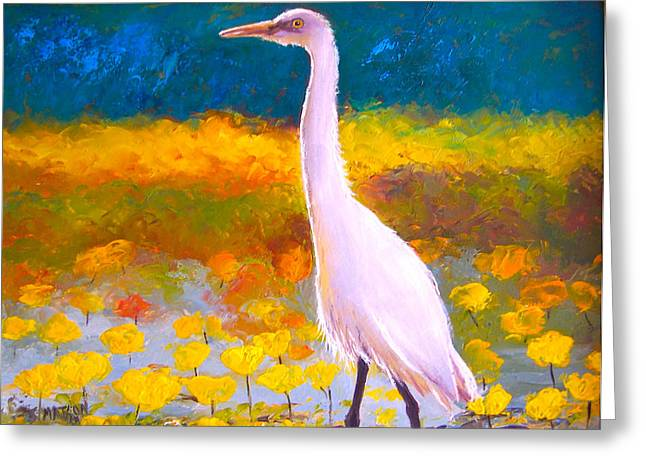 Egret Greeting Cards - Egret Water Bird Greeting Card by Jan Matson