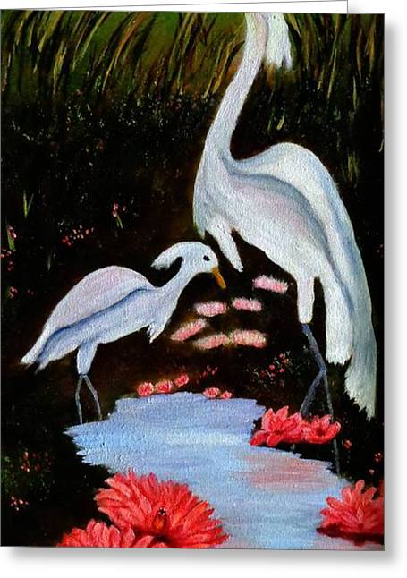 Day Lilly Greeting Cards - Egrets in Paradise Greeting Card by Janis  Tafoya