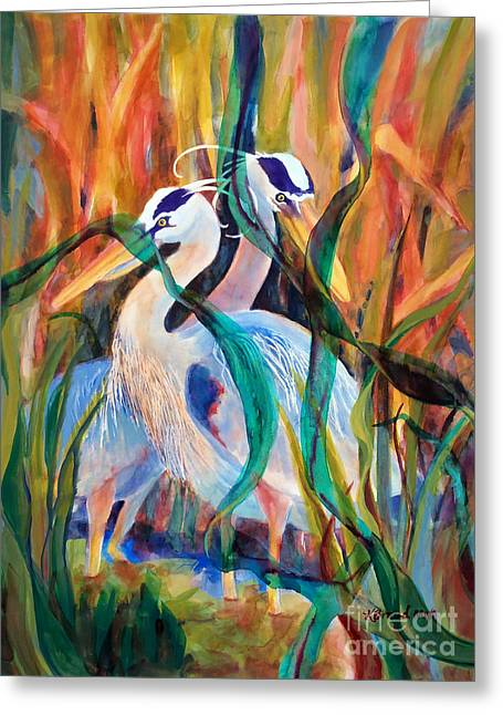 Bulrushes Greeting Cards - Egrets in Red 2            Greeting Card by Kathy Braud