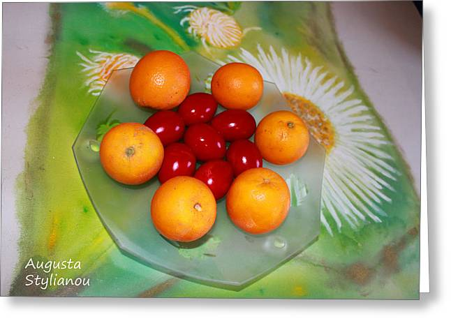 Easter Flowers Greeting Cards - Egss Fruits and Flowers Greeting Card by Augusta Stylianou