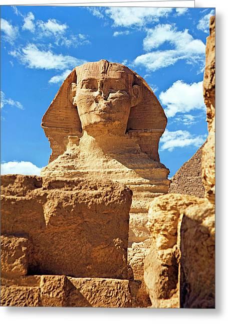 Egypt, Cairo, Giza, The Sphinx Greeting Card by Miva Stock
