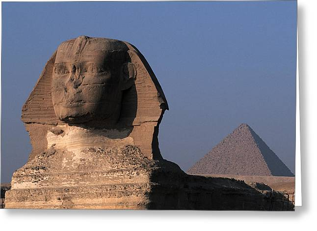 Pharaoh Greeting Cards - Egypt, Cairo, Giza. The Sphinx With Greeting Card by Tips Images