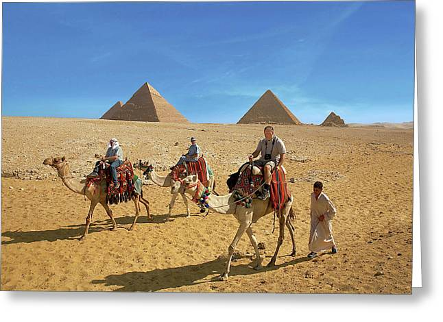 Egypt, Cairo, Giza, Tourists Ride Greeting Card by Miva Stock
