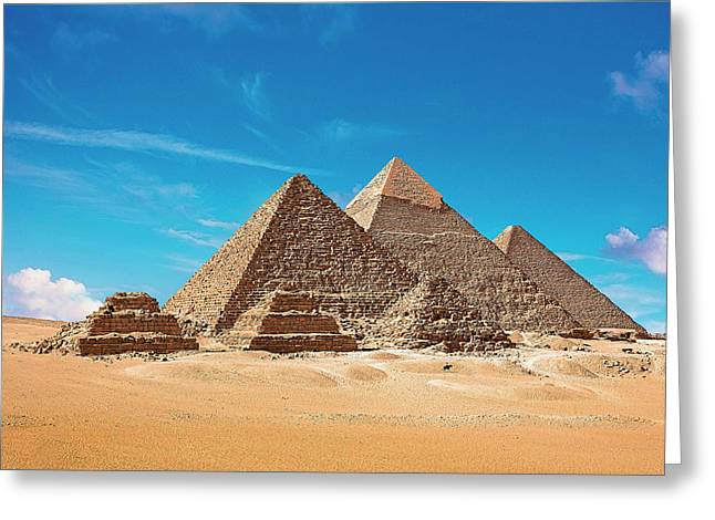 Egypt, Cairo, Giza, View Of All Three Greeting Card by Miva Stock