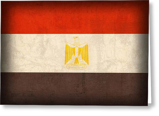 Nile Greeting Cards - Egypt Flag Distressed Vintage Finish Greeting Card by Design Turnpike