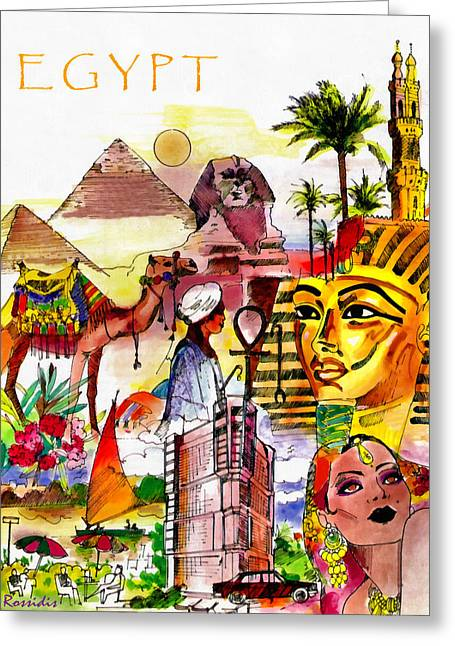 Pharaoh Drawings Greeting Cards - Egypt Greeting Card by George Rossidis