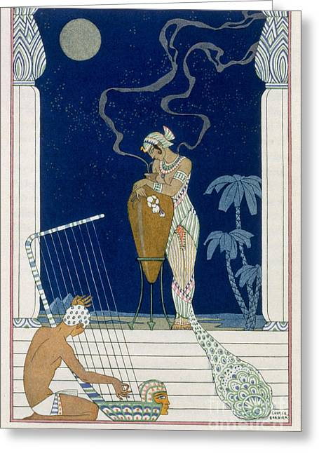 Stencil Art Greeting Cards - Egypt Greeting Card by Georges Barbier