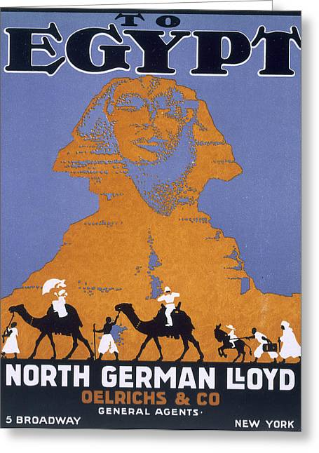 Trekking Greeting Cards - Egypt, Poster Advertising Norddeutscher Greeting Card by English School