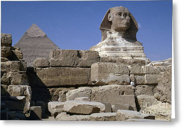 African Heritage Greeting Cards - Egypt: Sphinx And Pyramid Greeting Card by Granger