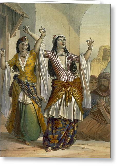 Dancing Girl Greeting Cards - Egyptian Dancing Girls Performing Greeting Card by Emile Prisse d