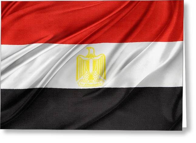Textiles Photographs Photographs Greeting Cards - Egyptian flag Greeting Card by Les Cunliffe