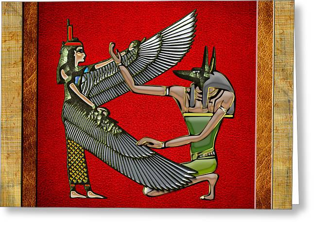 Egyptian Goddess Greeting Cards - Egyptian gods Anubis and Nut Greeting Card by Serge Averbukh