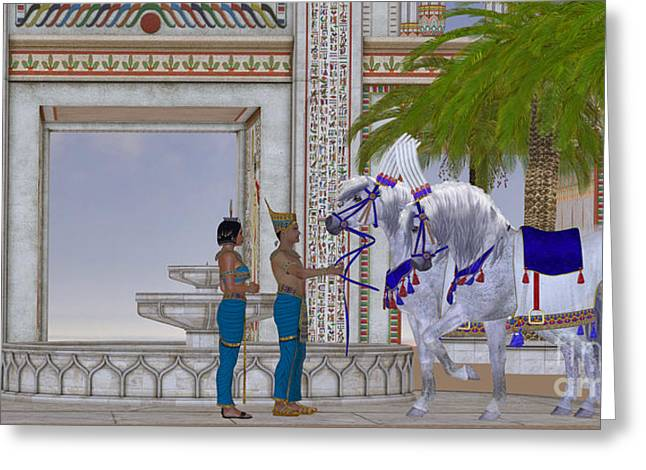 Kingship Greeting Cards - Egyptian Horses Greeting Card by Corey Ford