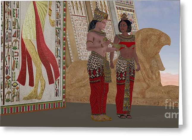 Kingship Greeting Cards - Egyptian King and Queen Greeting Card by Corey Ford