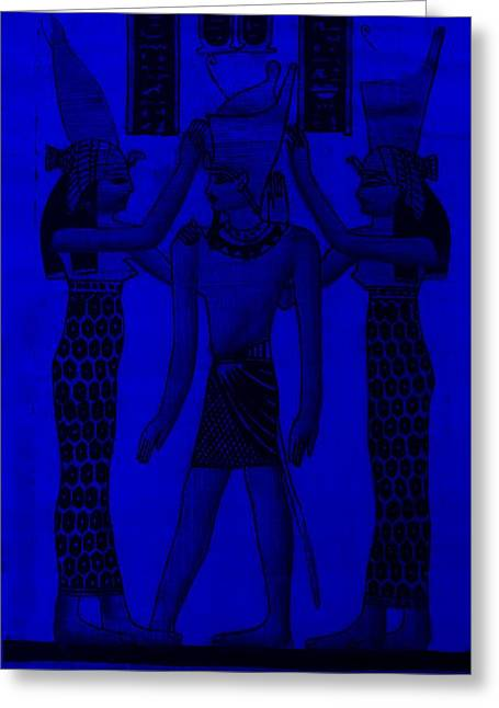 Horus Greeting Cards - Pharaoh Atem Blue Greeting Card by Rob Hans