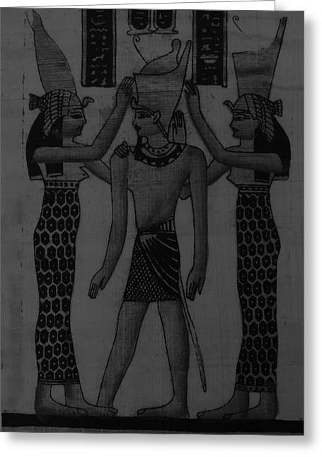 Horus Greeting Cards - Pharaoh Atem Charcoal Greeting Card by Rob Hans