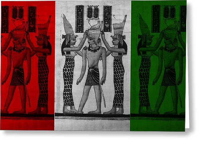Horus Greeting Cards - PHARAOH ATEM in FLAG COLORS Greeting Card by Rob Hans