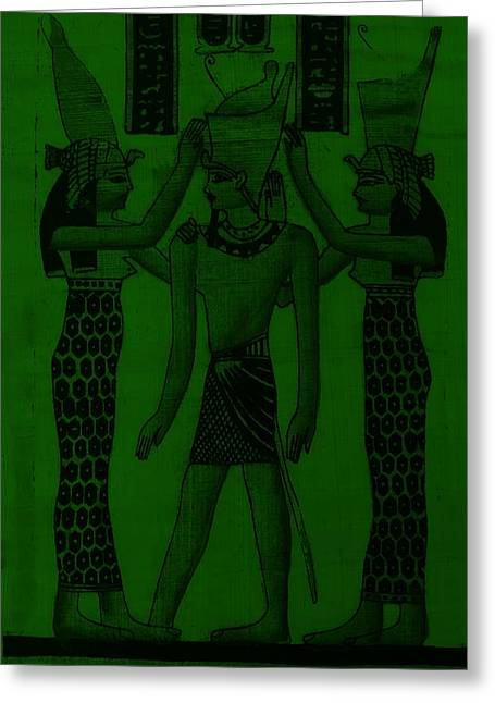 Horus Greeting Cards - Pharaoh Atem Olive Greeting Card by Rob Hans