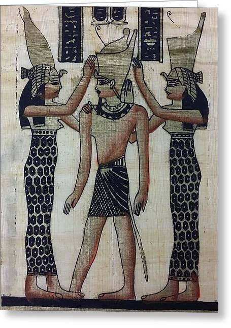 Horus Greeting Cards - Pharaoh Atem Greeting Card by Rob Hans