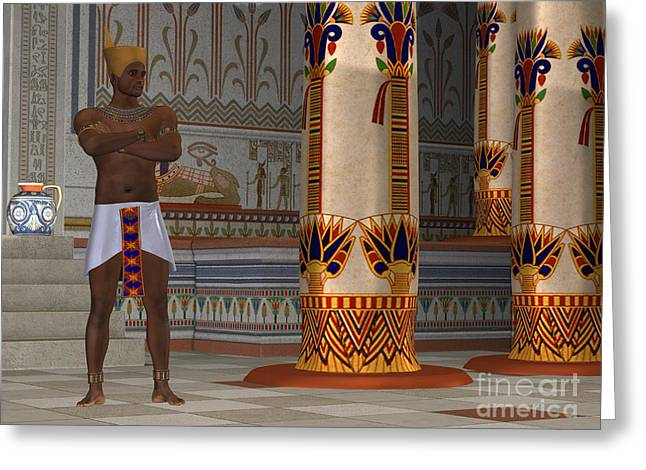 Kingship Greeting Cards - Egyptian Man in Palace Greeting Card by Corey Ford