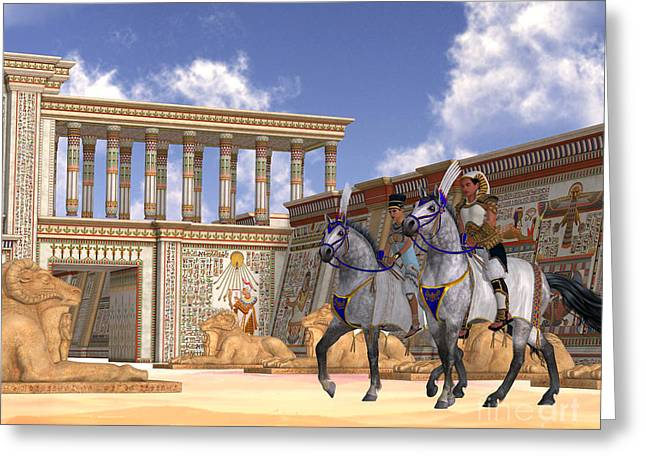 Kingship Greeting Cards - Egyptian Nobility on Horseback Greeting Card by Corey Ford