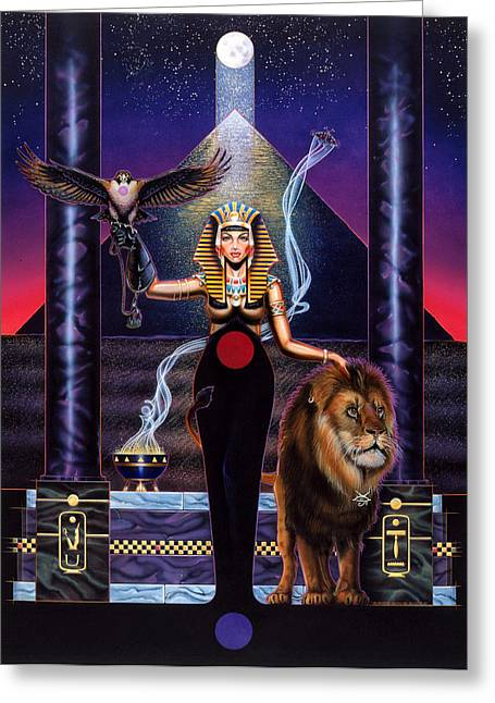 Pyramid Paintings Greeting Cards - Egyptian Queen Greeting Card by Tim  Scoggins