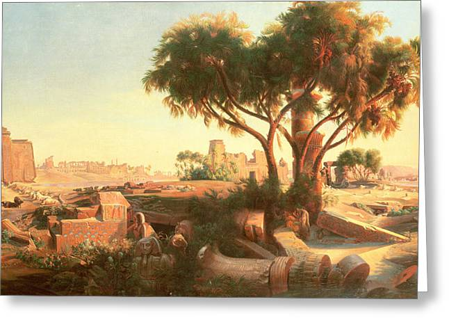 Mummies Greeting Cards - Egyptian Ruins Greeting Card by Johann Jakob Frey
