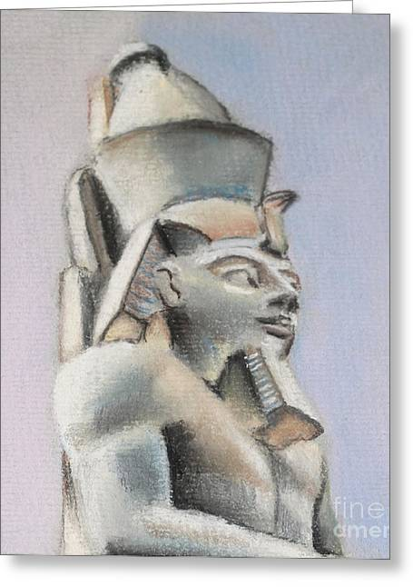 Pharaoh Drawings Greeting Cards - Egyptian Study Greeting Card by Elizabeth Lock