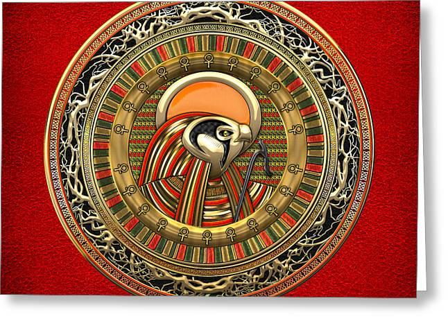 Treasure Trove Greeting Cards - Egyptian Sun God Ra Greeting Card by Serge Averbukh