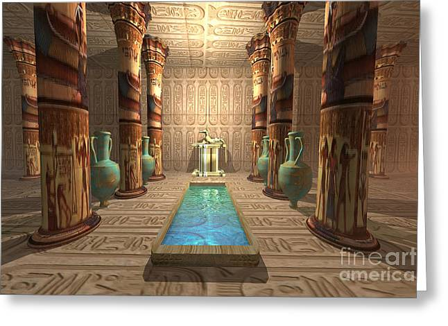 Egyptian Mummy Greeting Cards - Egyptian Temple Greeting Card by Corey Ford