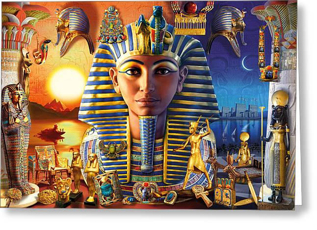 Pharaoh Photographs Greeting Cards - Egyptian Treasures II Greeting Card by Andrew Farley