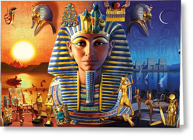 Pharaoh Photographs Greeting Cards - Egyptian Triptych 2 Greeting Card by Andrew Farley