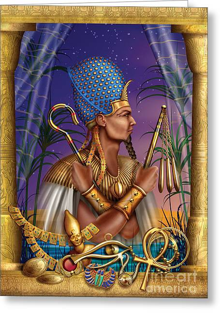 Man Greeting Cards Greeting Cards - Egyptian Triptych Variant I Greeting Card by Ciro Marchetti