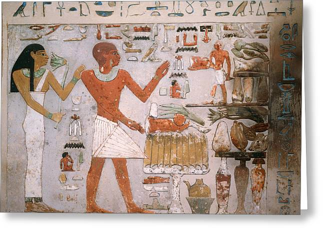 Pharaoh Greeting Cards - Egyptian Wall Fragment from the Tomb of Amenemhet and Wife Hemet Greeting Card by Mountain Dreams