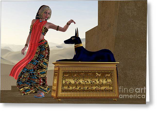 Statue Portrait Greeting Cards - Egyptian Woman and Anubis Statue Greeting Card by Corey Ford